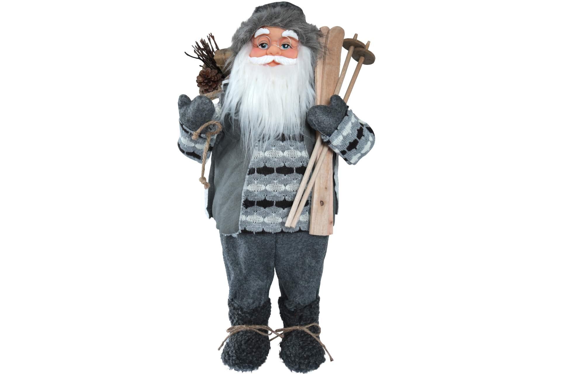 dekofigur weihnachtsmann 60 cm mit ski sack in grau. Black Bedroom Furniture Sets. Home Design Ideas