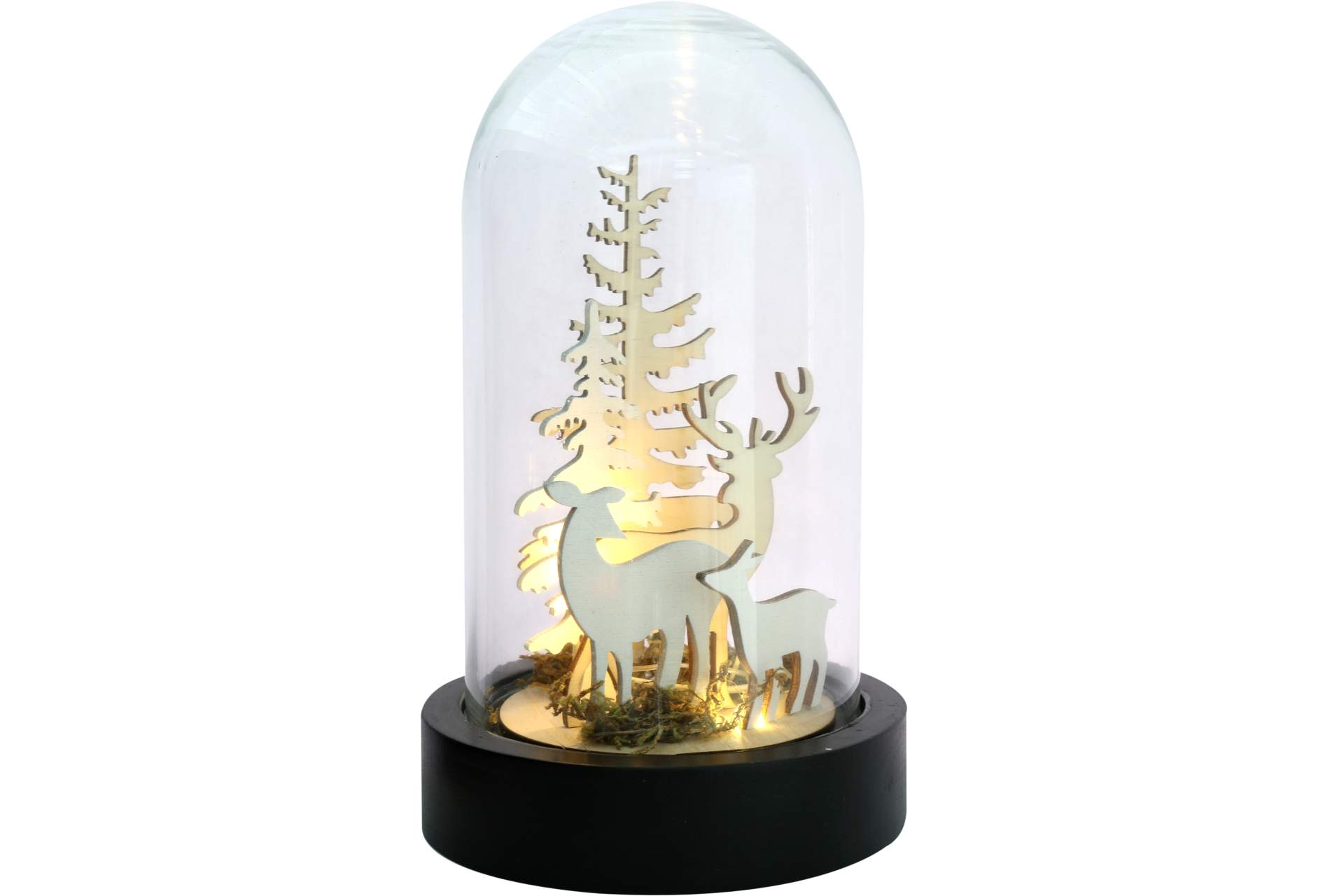 Deko led glaskuppel mit holz landschaft h 20 cm hirsch tanne dekoration dekoration posten - Led deko tanne ...