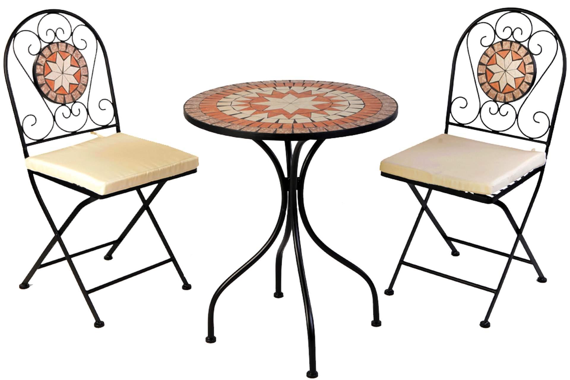 mosaik eisen set garnitur 3 tlg mit sitzpolster bistro set gartenm bel haus und garten. Black Bedroom Furniture Sets. Home Design Ideas