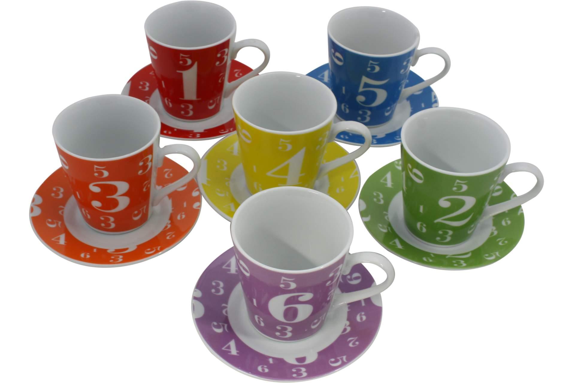 cappuccino kaffee tassen untersetzerset 12tlg zahlen motiv geschirr und besteck k che und. Black Bedroom Furniture Sets. Home Design Ideas