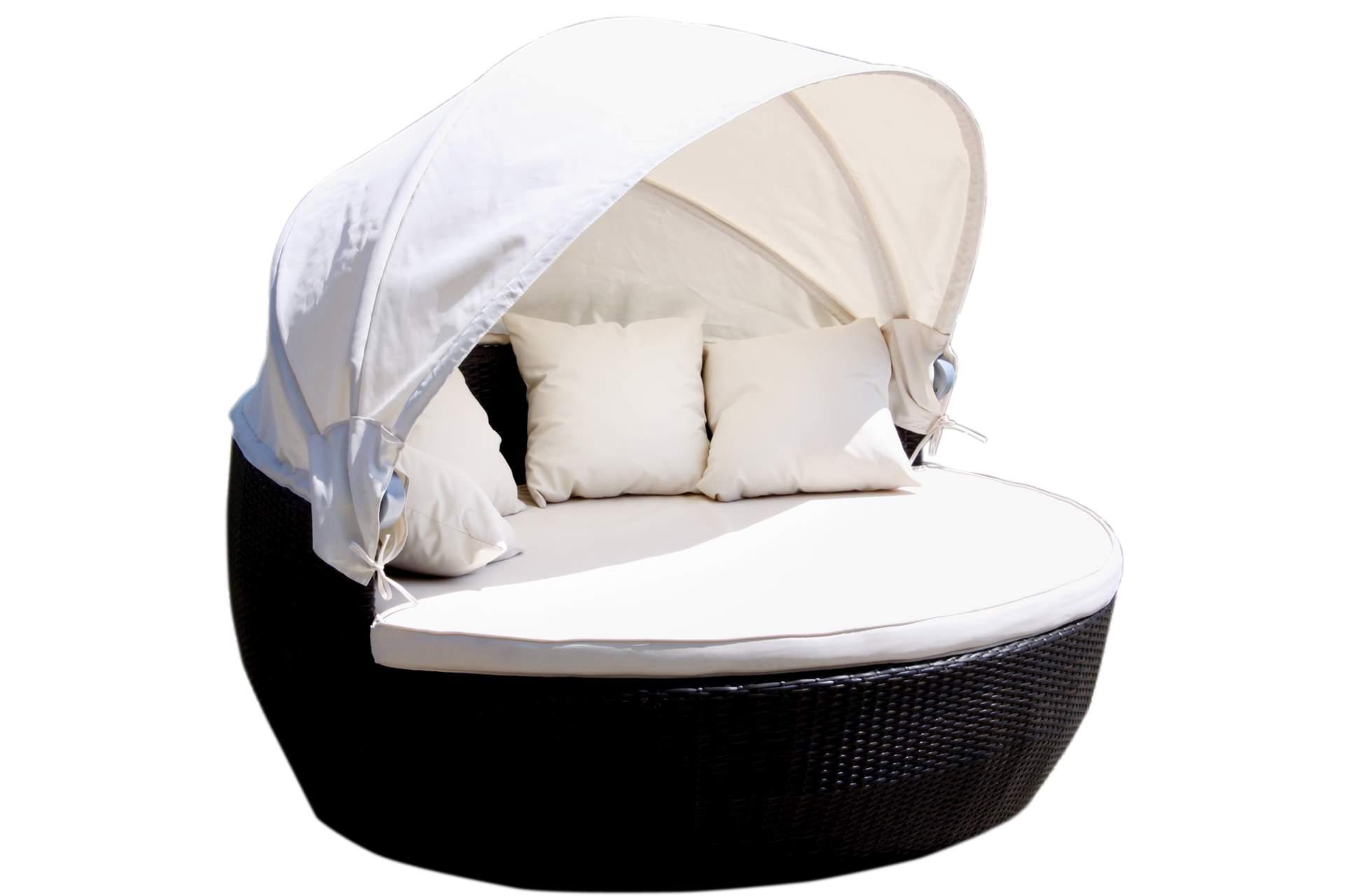 sonneninsel 170 cm polyrattan schwarz mit sonnendach. Black Bedroom Furniture Sets. Home Design Ideas