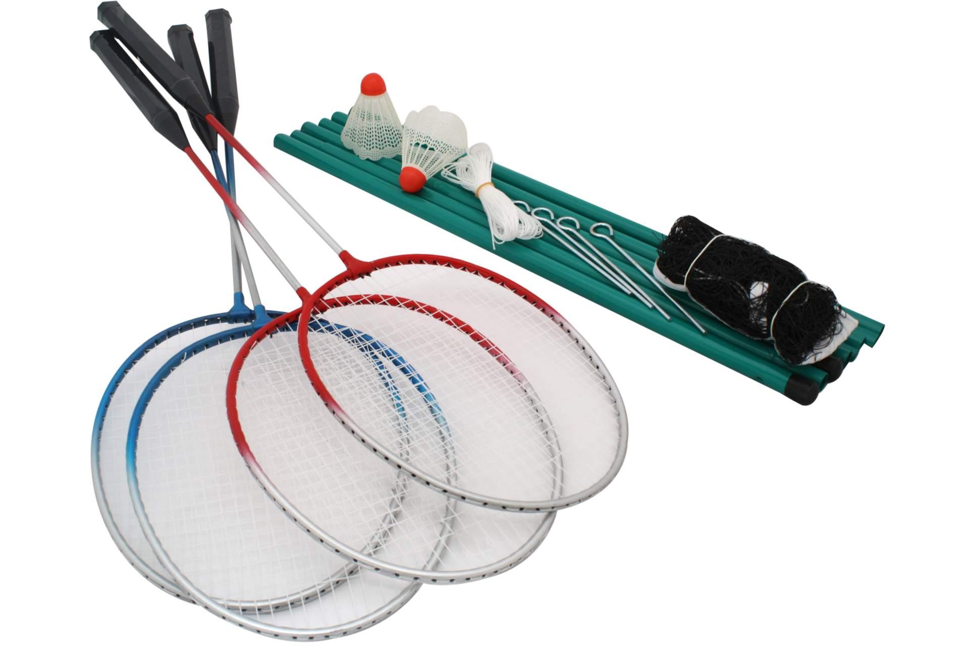 badminton federball spiel set f r 4 personen inklusive netz spielzeug f r drau en spielwaren. Black Bedroom Furniture Sets. Home Design Ideas