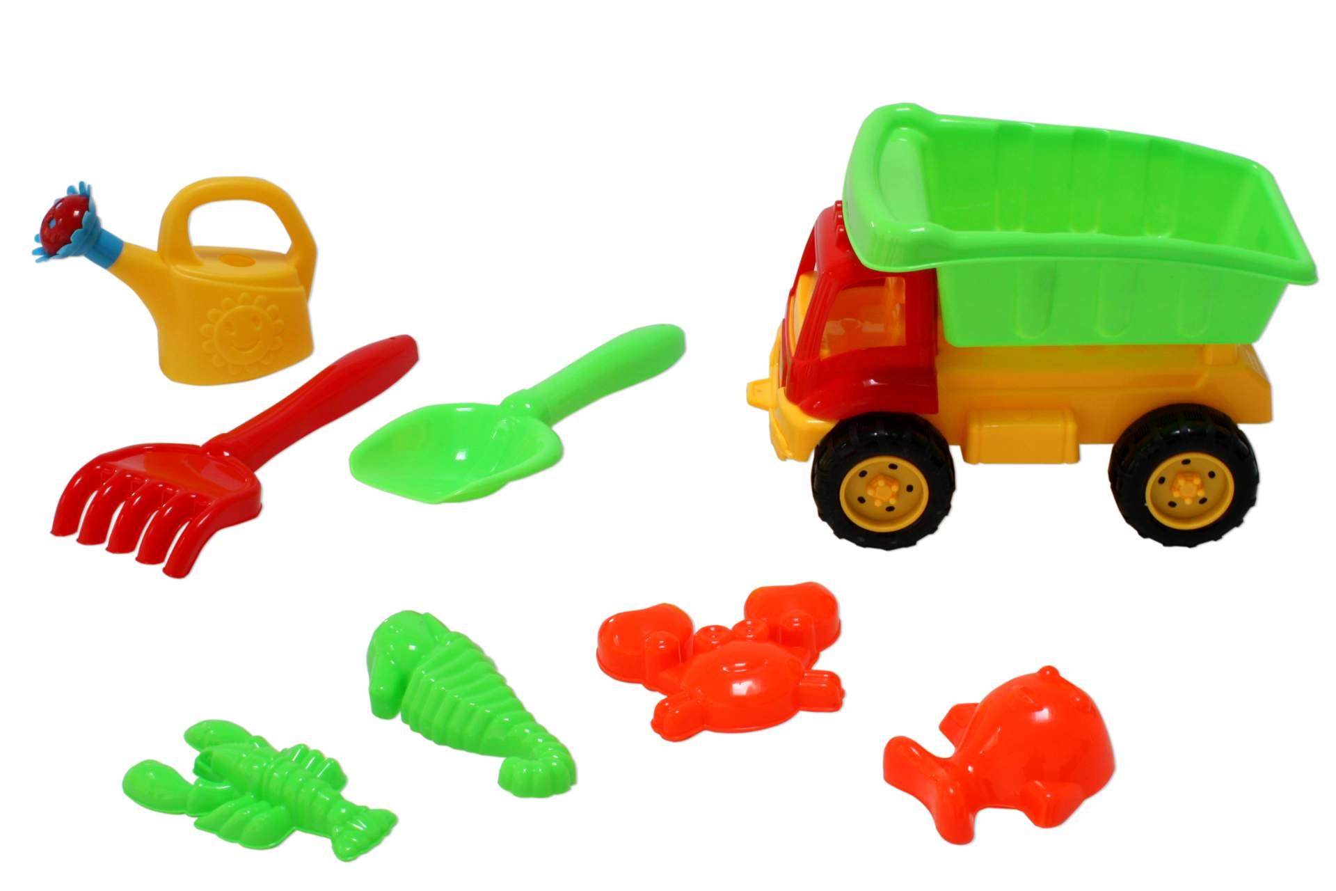 sandkasten set lkw gelb mit zubeh r 8 tlg spielzeug kipper spielzeug f r drau en spielwaren. Black Bedroom Furniture Sets. Home Design Ideas